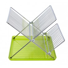 Foldable dish rack with colored translucent tray