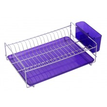 Flat stainless steel dish rack with purple tray and cutlery holder