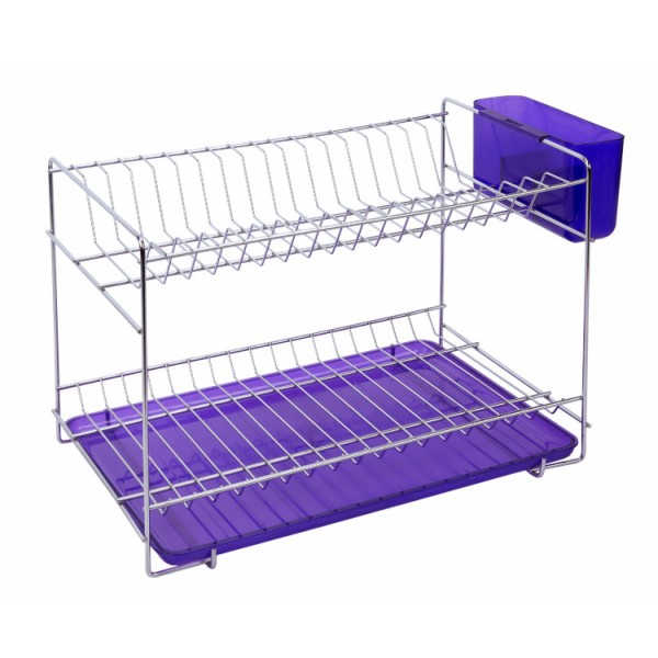 Stainless Steel Dish Rack With Colored Translucent Tray