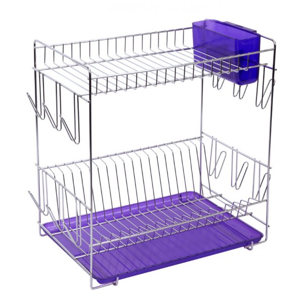 ... Large stainless steel dish rack with purple tray and cutlery holder  sc 1 st  WebShop HouseHold & Stainless steel dish rack with colored translucent tray from Sauvic