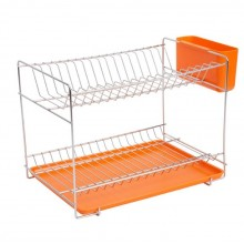 Small stainless steel dish rack with orange tray and cutlery holder