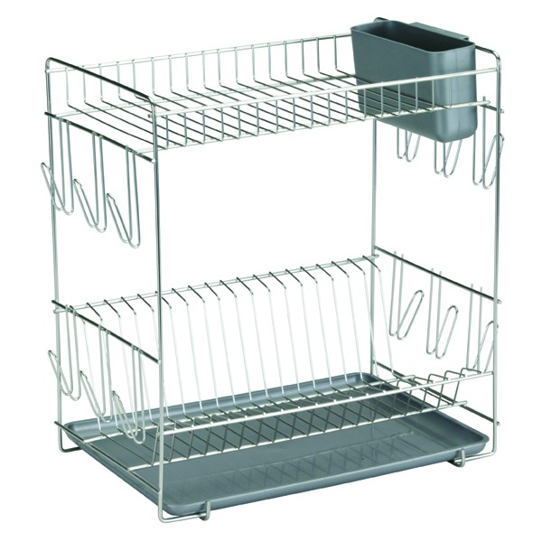 ... Large stainless steel dish rack with grey tray and cutlery holder ...  sc 1 st  WebShop HouseHold & Stainless steel dish rack with colored tray from Sauvic
