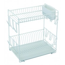 Large white plastic coated dish drainer